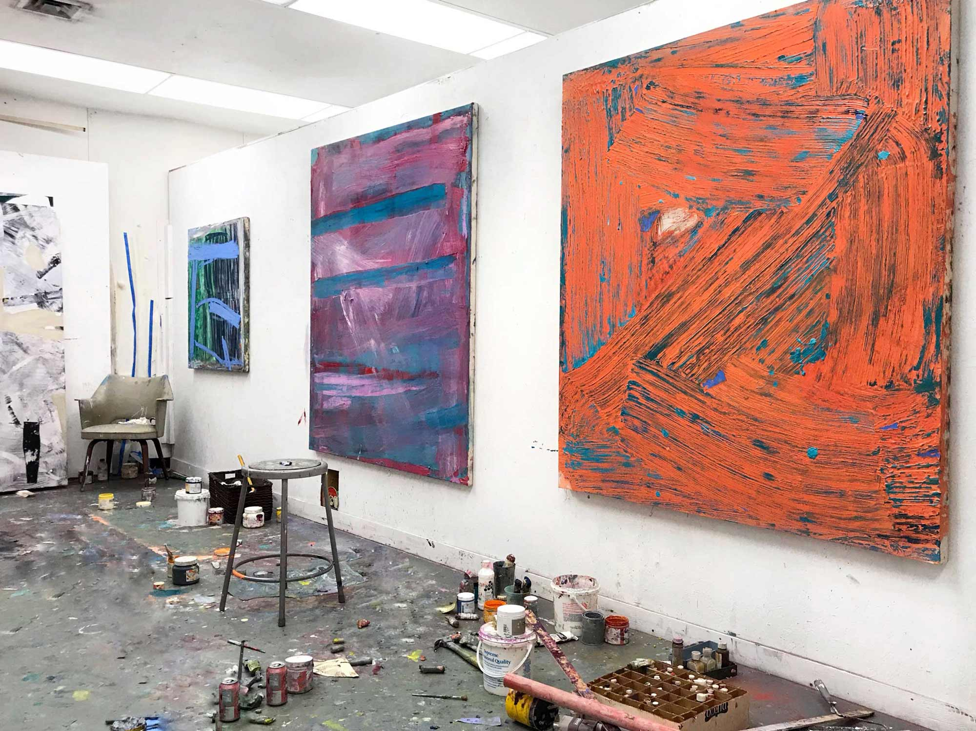 Studio view of large scale works, 2019, Tampa, FL