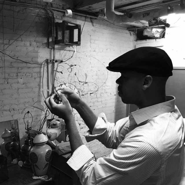 Ceaphas Stubbs working in the studio