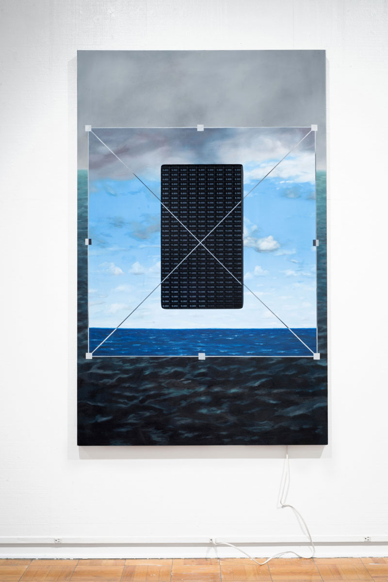 """Free Transform, 2019 oil on canvas, mini-computer, cords, computer monitor with oceanographic temperature data, website  48"""" 76"""" x 2"""""""