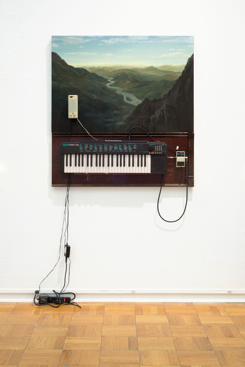 """View with Imaginary River, 2019 oil on canvas, Yamaha PSR-75 Keyboard, guitar delay pedal, computer speaker, cables, C major chord with a suspended seventh 44"""" x 47"""" x 6"""""""