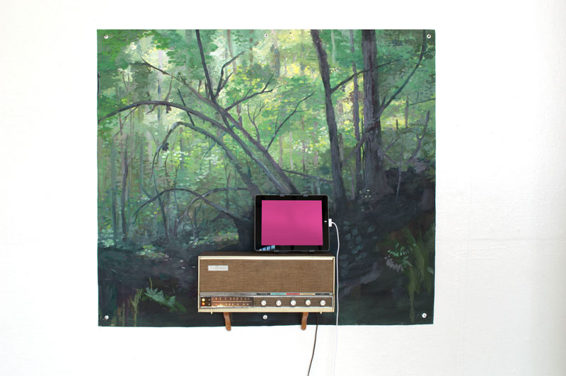 "Gesamtkunstwerk, 2019⁠⠀ oil on canvas, grommets, vintage stereo, tablet, a selection of Richard Wagner overtures⁠⠀ 51"" x 33"" x 10"""